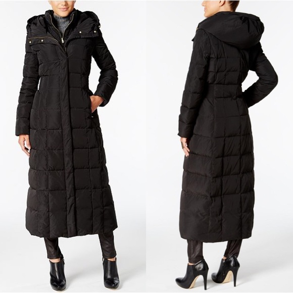 COLE HAAN Signature Long Quilted Black Jacket